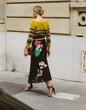 skirt,tumblr,sweater,yellow sweater,stripes,striped sweater,maxi skirt,floral skirt,sandals,sandal heels,high heel sandals,velvet,velvet shoes,velvet sandals,bag,streetstyle