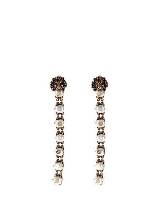 lion pearl embellished earrings gold jewels