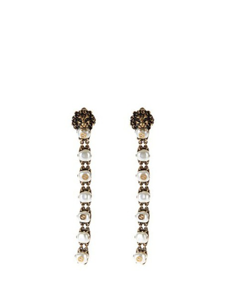 gucci lion pearl embellished earrings gold jewels