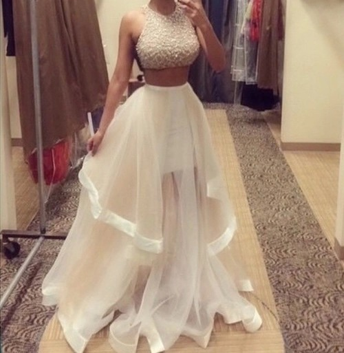 Custom made two pieces prom dresses 2015, party dresses 2015, formal dresses 2015
