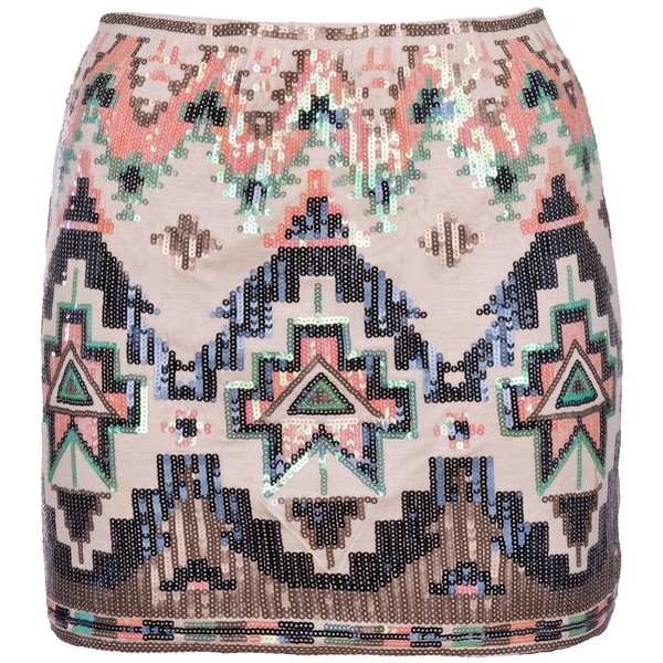 Cream Sequin Aztec Skirt - Polyvore