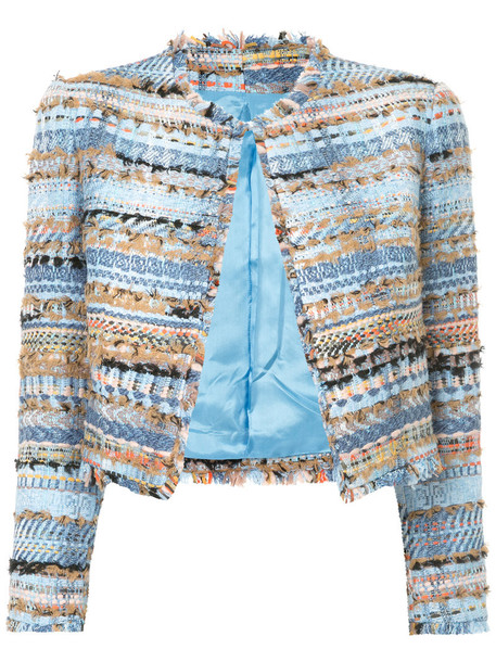 Isabel Sanchis jacket cropped jacket embroidered cropped women cotton blue wool