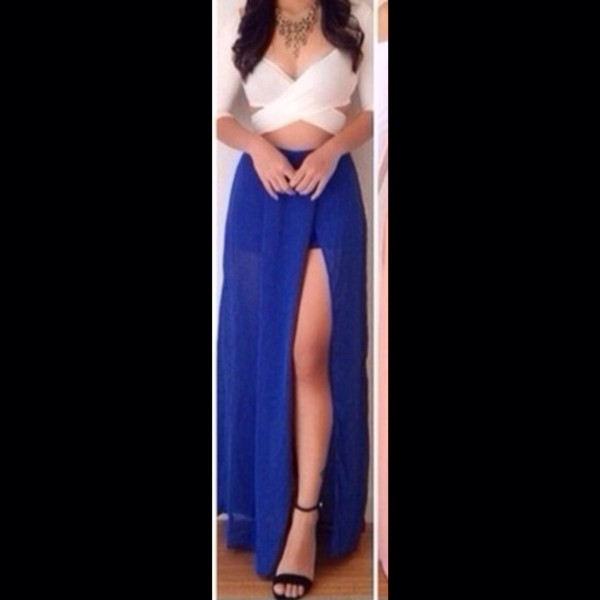 skirt fabric blue maxi skirt split skirt split maxi thin cross crop top white crop tops long sleeve crop top shoes shirt blouse white top crop