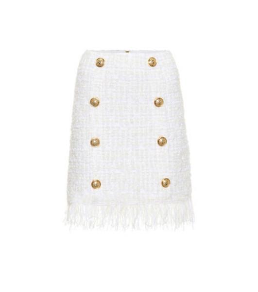 Balmain Tweed miniskirt in white