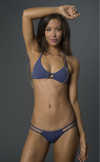 top bikini top blue braided crochet frankies bikini halter top triangle blue bikini bikiniluxe
