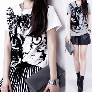 New Women Black Kitty Cat Pattern Short T Shirt Rock Punk Tops Blouse 2 Colors | eBay