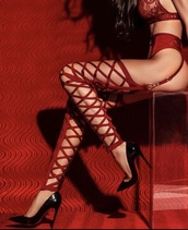 tights,red fishnet thigh highs