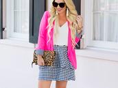 skirt,gingham,gingham skirt,mini skirt,tank top,blazer,leopard print clutch,clutch,earrings,blogger,blogger stye