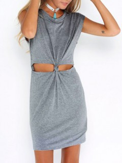 Gray short sleeve cut out slim