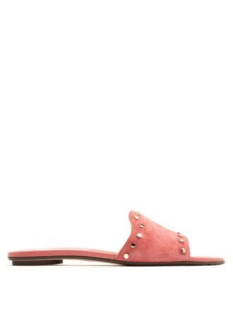 embellished suede pink shoes