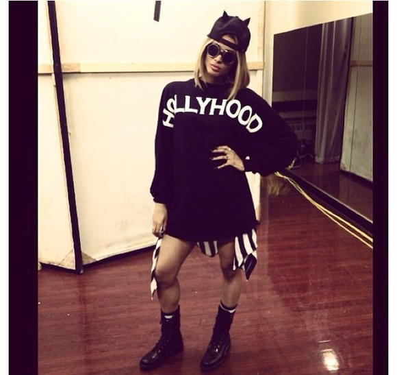 sweater ciara black striped skirt hollyhood plaid shirt shoes socks ring hippie glasses