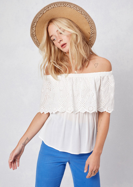 a67a8c1ec32f29 top lovestitch white bohemian off-white effortless blouse off the shoulder  off the shoulder top