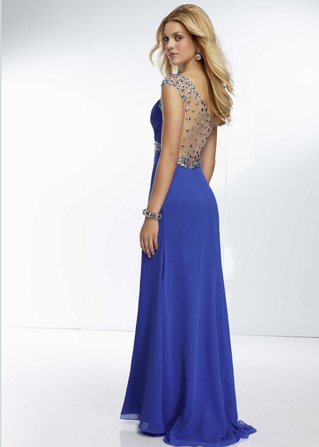 Mori Lee 95016 Royal Rhinestone Sheer Back Slit Leg Prom Dress [Mori Lee 95016 Royal] - $179.00 : Prom Dresses 2014 Sale, 70% off Dresses for Prom