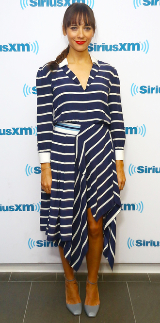 dress stripes asymmetrical rashida jones