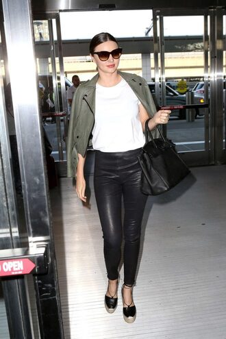 pants top leather pants miranda kerr wedges espadrilles jacket spring outfits shoes