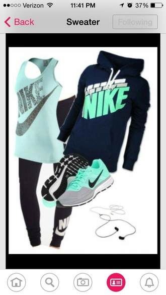sweater nike running shoes nike sweater nike shoes blue shirt black sweater black top leggings tights black pants shoes
