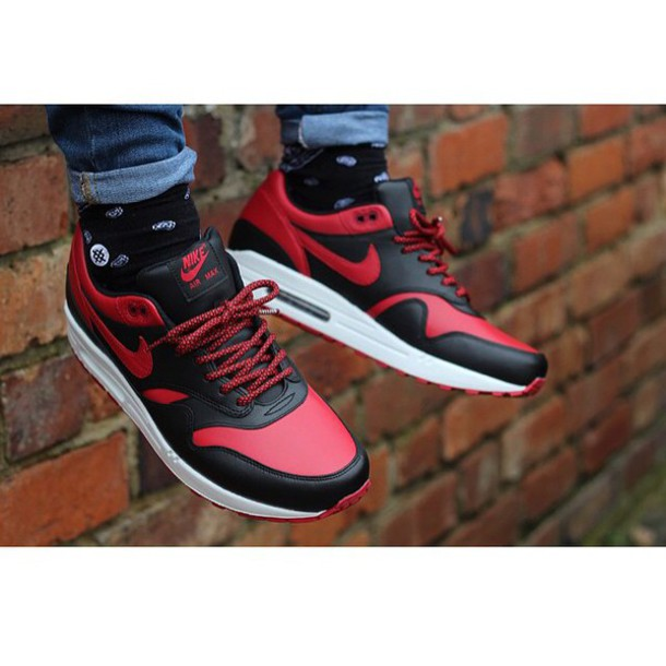 shoes nike black red style air max