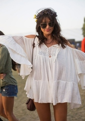 dress,coachella,tunic,blouse,boho,festival,white dress,hippie,2013,sunglasses,bag,music festival,white,blogger,tank top,jewelry,shirt,summer,white hippie blouse,flowy dress