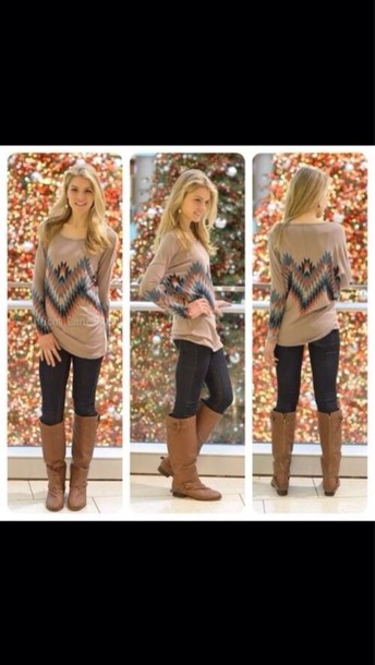 blouse fall outfits tribal pattern cute long sleeves sweater style preppy jeans shirt
