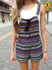 romper,overalls,shorts,pattern,stripes,boho,aztec stripe