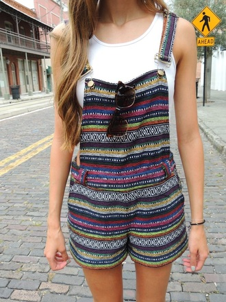 romper overalls shorts patterned stripes boho aztec stripe