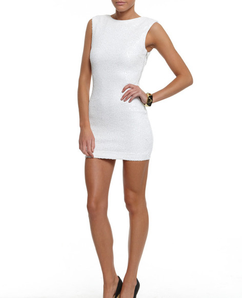 fitted dress mini dress white dress sequin dress sequin bodycon dress sleeveless sleeveless dress white bodycon dress white sequin dress