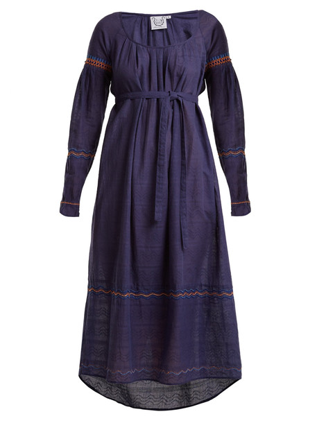 THIERRY COLSON Cretan embroidered cotton dress in navy