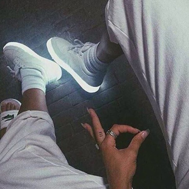 shoes sneakers white glow in the dark light nike tumblr