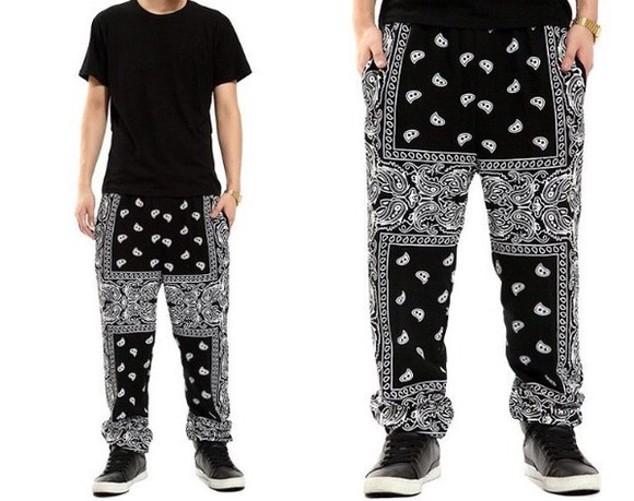 hip-hop black white pants sweatpants paisley harempants