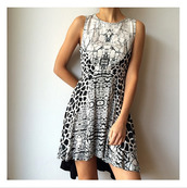 dress,party dress,snakeprint,leopard print,grey,black and white