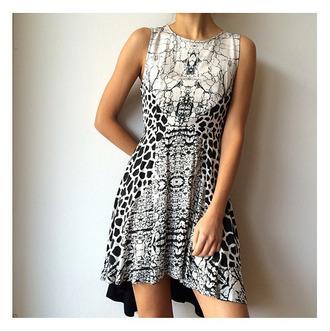 dress party dress snakeprint leopard print grey black and white