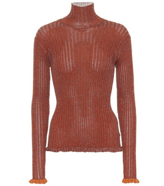 Chloé Ribbed metallic turtleneck top in red