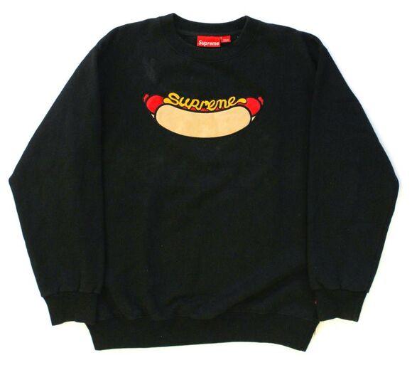 supreme vintage sweater black wurstel hot dog mustard bread