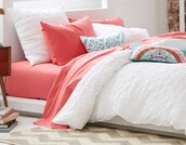 home accessory,coral sheet,white comforter,bedding