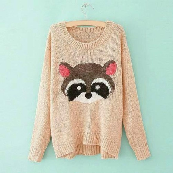 cute sweater pink pastel oversized sweater raccoon animal