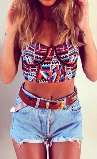 shirt crop tops strapless bustier belt blouse tribal pattern t-shirt shorts tank top bandeau aztec aztec crop top bandeau top high waisted denim shorts summerhype summerlife