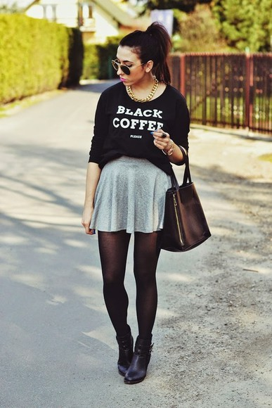 sweater bag shoes skirt disturbed style
