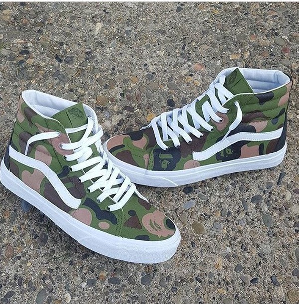 7d7af3369ad56 shoes, vans, sneakers, camouflage, high top sneakers - Wheretoget