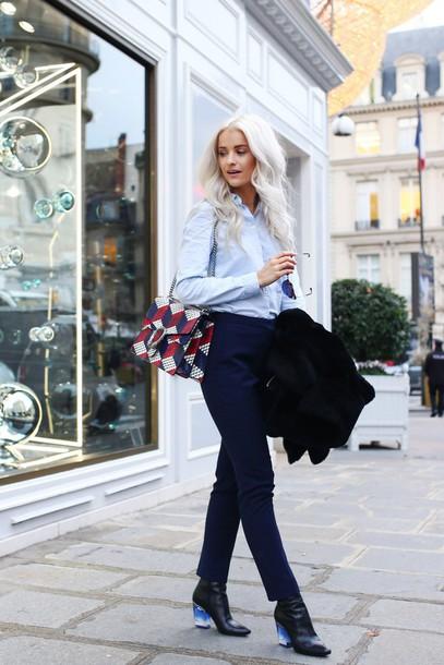 fd47c0b086 bag tumblr printed bag gucci gucci bag pants blue pants boots black boots  shirt blue shirt