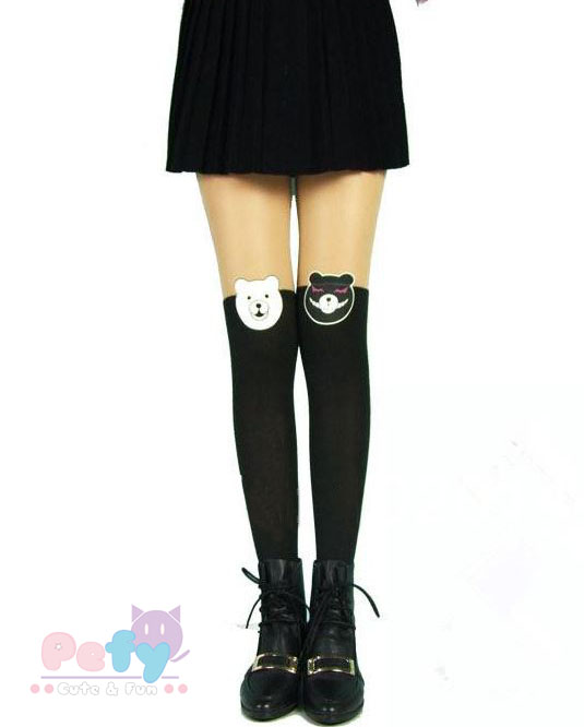 Monokuma stockings from Pefy Shop on Storenvy