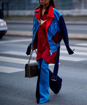 jacket,tumblr,patchwork,denim,jeans,blue jeans,flare jeans,bag,printed bag,chain bag,dress,mini dress,red dress,wrap dress,blue jacket,fashion week 2017,streetstyle