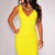 Yellow V Neck Cut Out Back Bodycon Party Dress