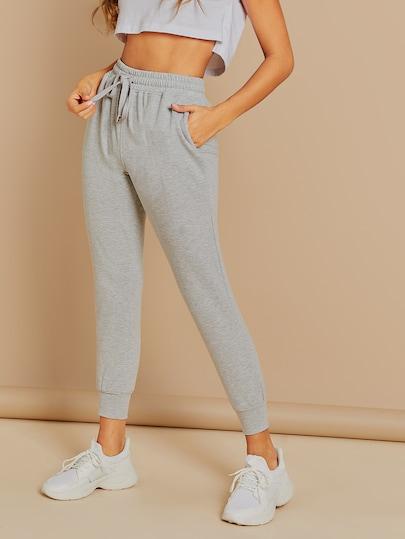 Elastic Waist Side Pockets Skinny Sweatpants