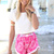 Pink Shorts - Pink and White Printed High | UsTrendy