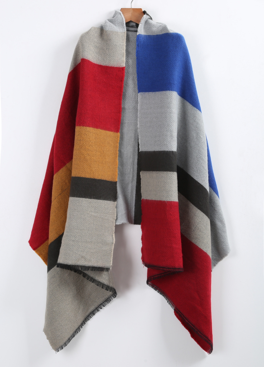 Grey color block scarves