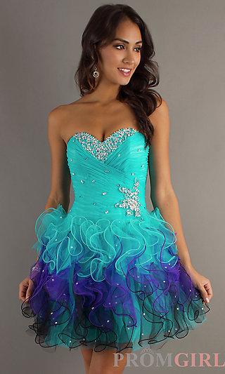 Short Strapless Dresses, Mori Lee Strapless Party Dress- PromGirl