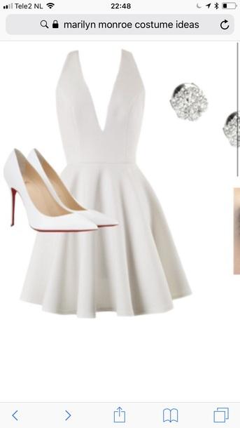 dress white dress deep v cut dress v cut