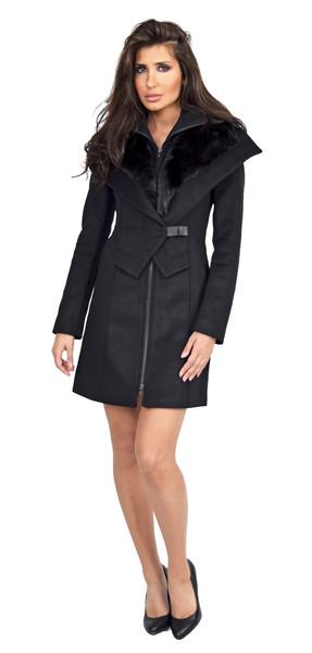 Soia & kyo fei black winter wool coat with fur trim