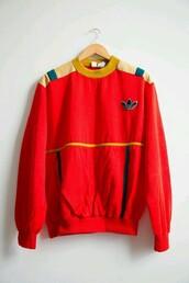 sweater,sweatshirt,adidas sweater,red,red sweater,swag,unisex