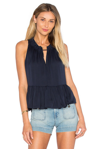 top peplum top sleeveless navy